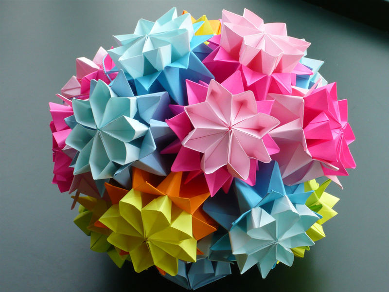 Цветочный шар оригами