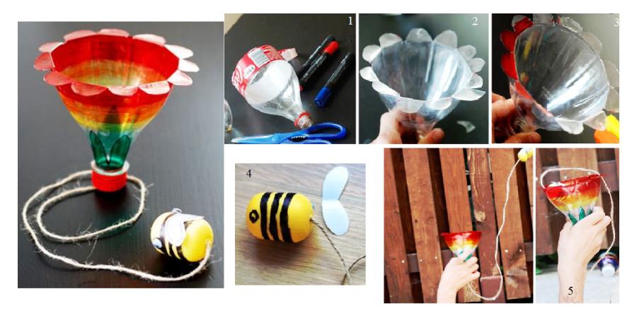 Игра бильбоке «Поймай пчёлку» из пластиковой бутылки и киндер контейнера