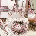 Фото 28: Плетение круглой корзины из газетных трубочек