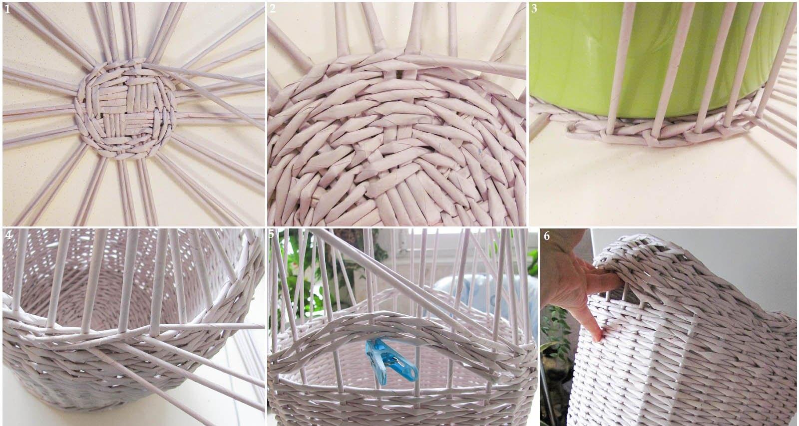 Пошаговое плетение корзинки из газет