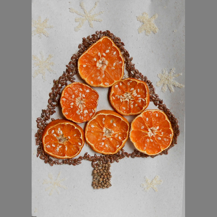 Новогодняя открытка с сухофруктами