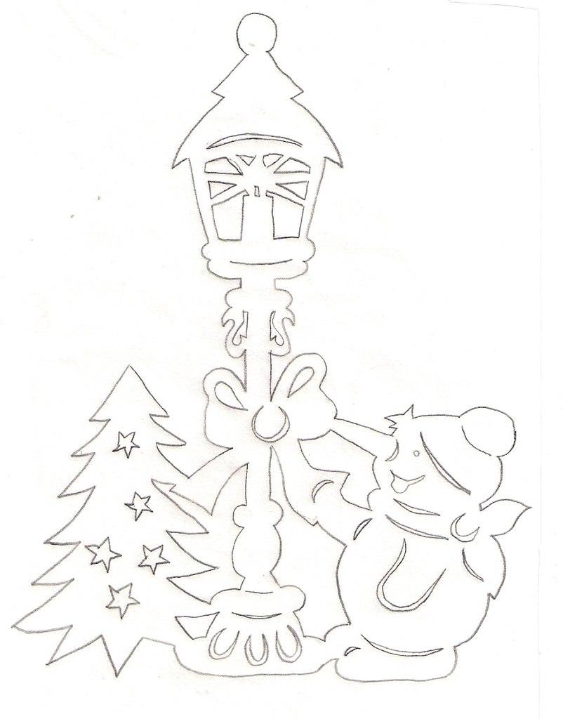 Вытынанка снеговик и елочка