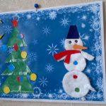 Фото 58: Снеговик из ватных дисков для открытки
