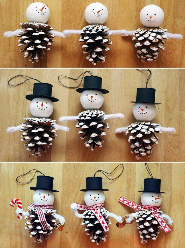 Новогодний снеговик из шишек своими руками