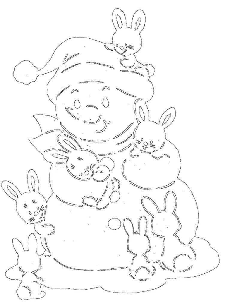 Вытынанка снеговик и зайцы