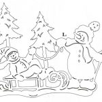 Фото 61: Вытынанка со снеговиками