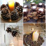 Фото 56: Украшение свечей шишками
