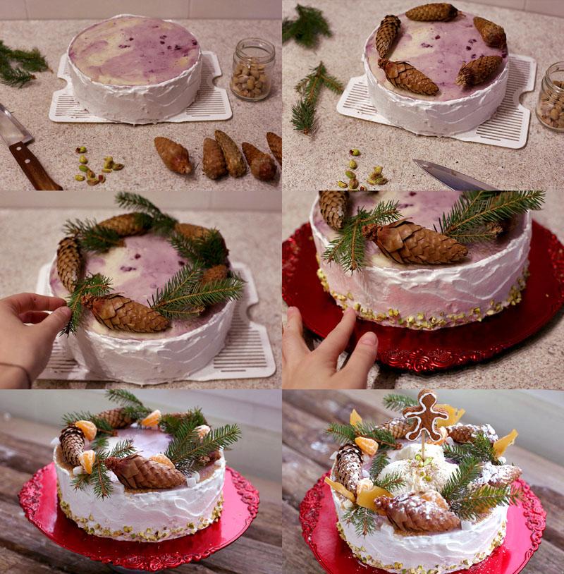 Украшение торта шишками своими руками