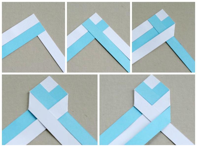 Плетение закладки из бумаги