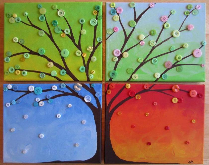 Декорирование открытки пуговицами по временам года