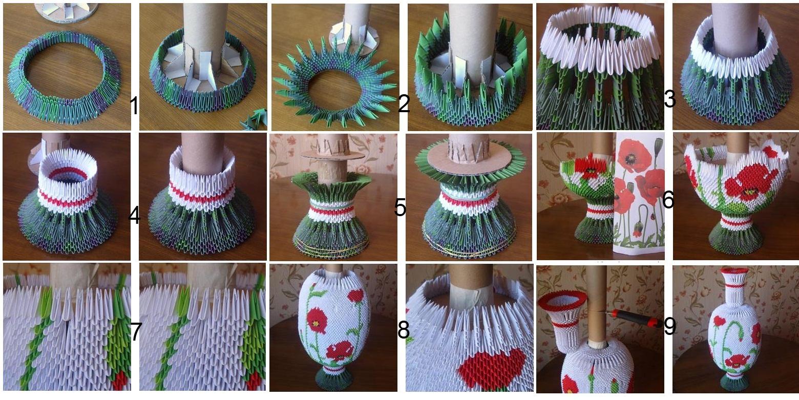 Изготовление вазы в технике модульного оригами