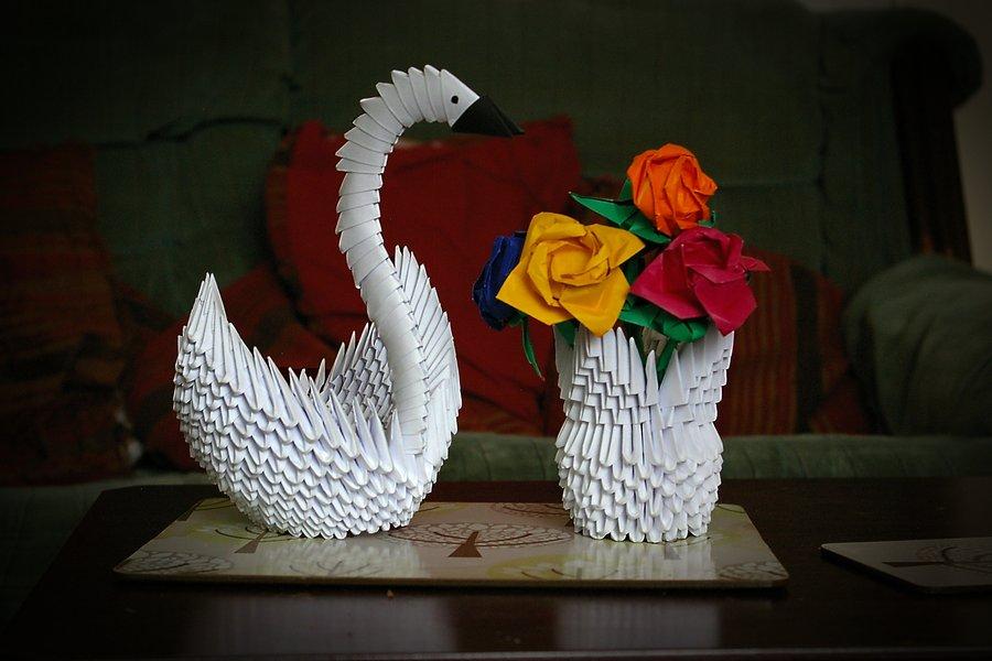Модульные вазы оригами