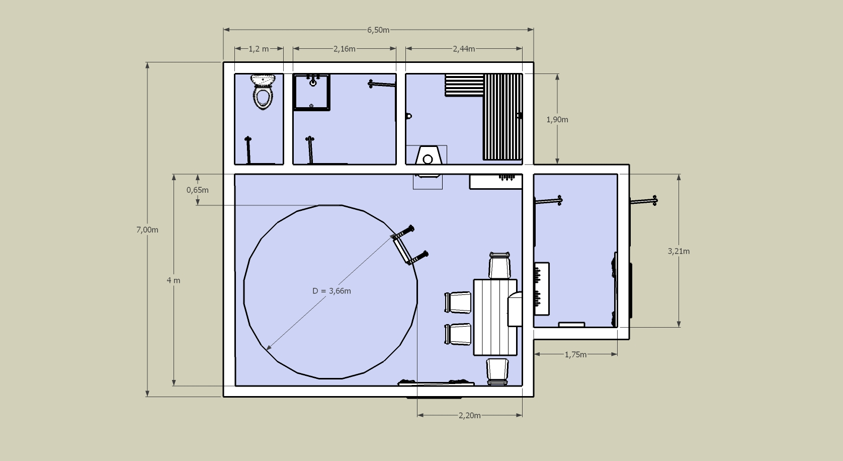 План комнаты с бассейном