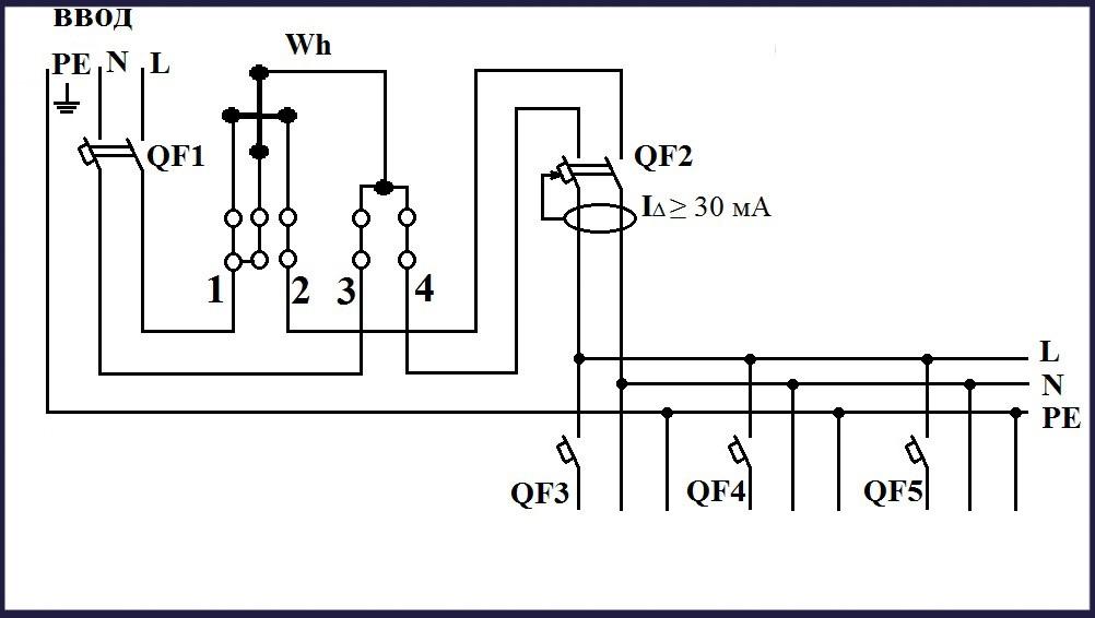 Схема подключения однофазного счётчика