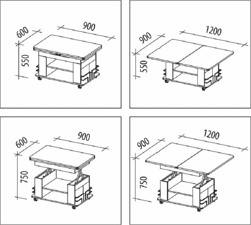 Схема стола-трансформера