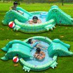 Фото 15: Бассейн в виде крокодила с горками