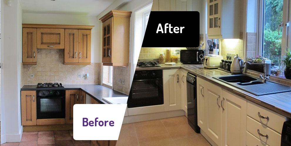 """Реставрация кухонной мебели """"до"""" и """"после"""""""