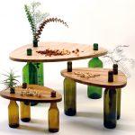 Фото 24: Столики из фанеры и стеклянных бутылок