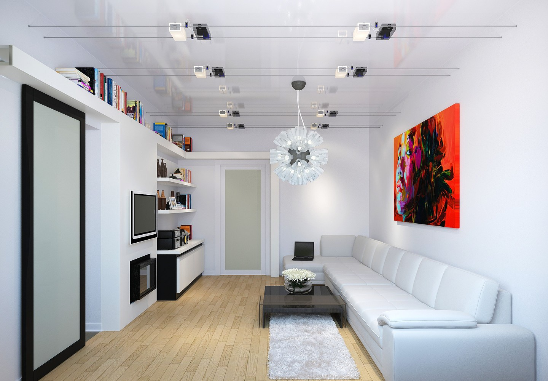 Белый цвет идеально впишется в дизайн маленькой гостиной комнаты