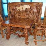 Фото 28: Резная мебель из массива можжевельника