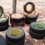 Фото 38: Сидения и столик из шин и веревок