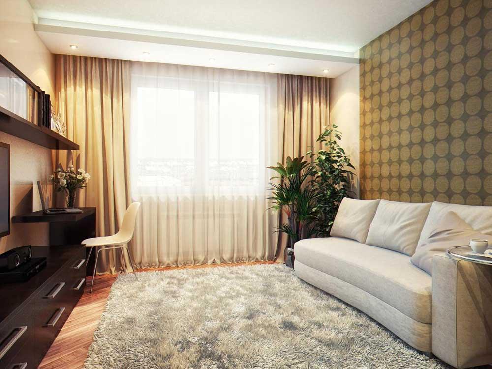 Скрытые гардины для штор в гостиной