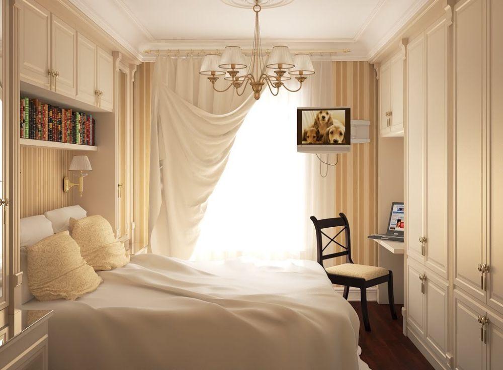 Шторы в светлых тонах для спальни