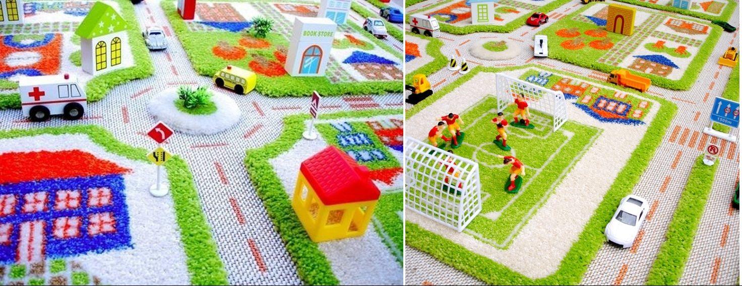 Дополнение ковра с дорогами игрушками