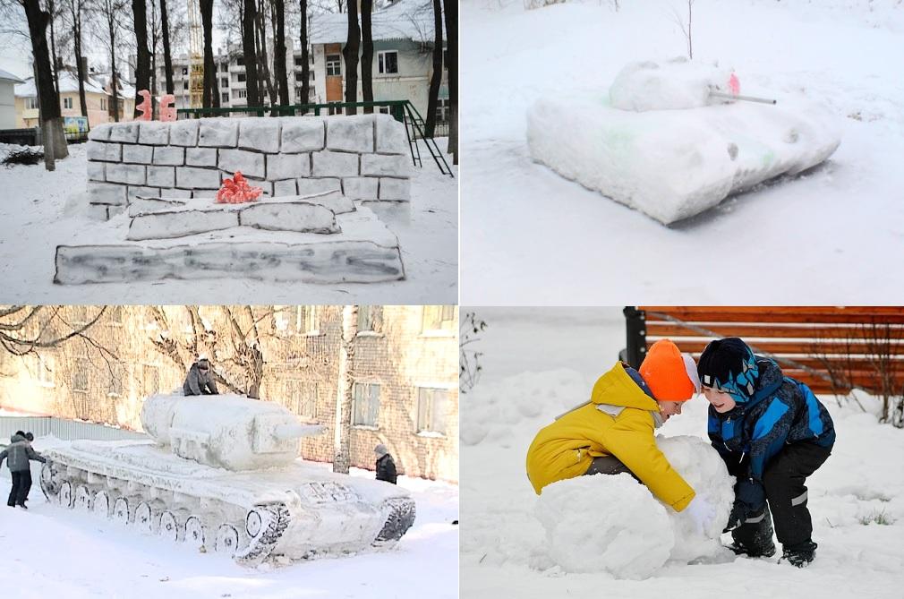 Лепить фигуры из снега на День Защитника Отечества 23 февраля своими руками