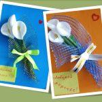 Фото 33: Объемные открытки с каллами из ватных дисков