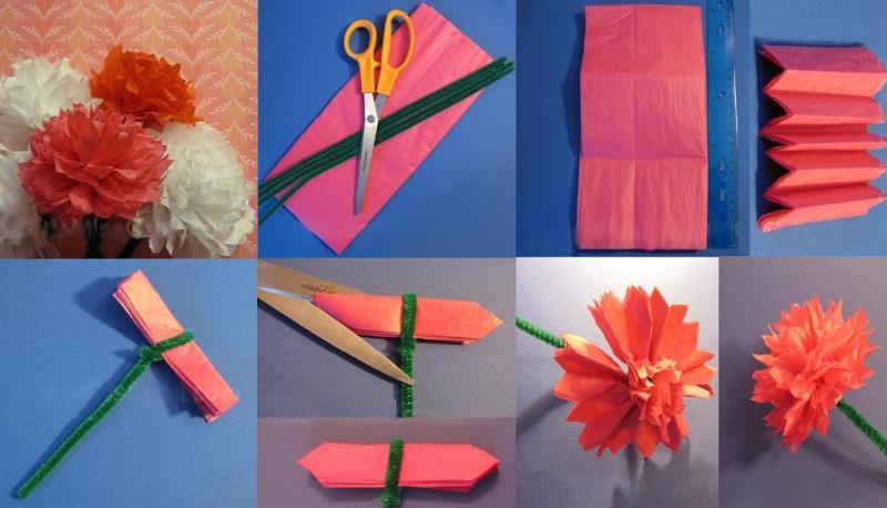 Сделать гвоздики из бумаги своими руками для открытки