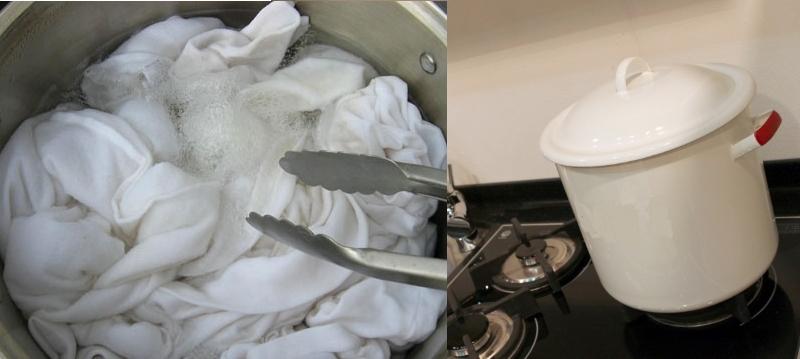 Кипячение тюля с мылом