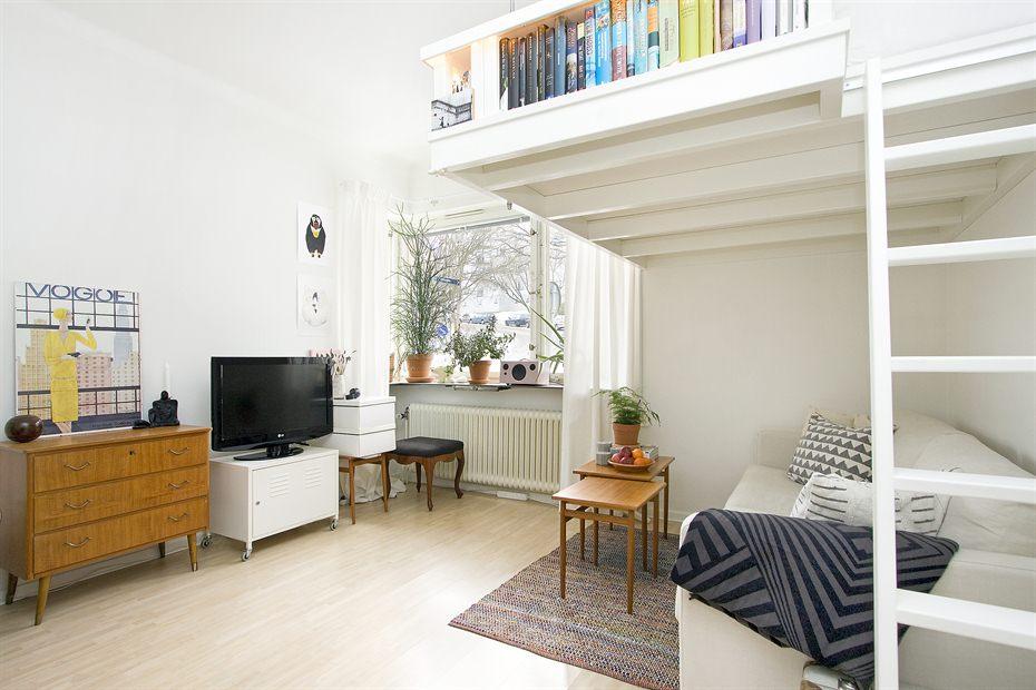 Если позволяет потолок, можно организовать кровать-чердак