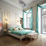 Фото 28: Шторы в спальне с открытыми окнами