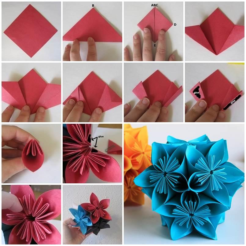 Сделать объемный цветок из бумаги на 8 марта в технике модульного оригами