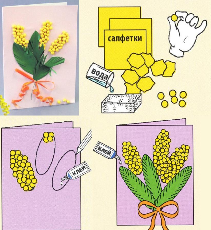 Сделать открытку с мимозой из бумаги поэтапно