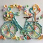 Фото 102: Открытка в технике квиллинг с велосипедом своими руками