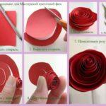 Фото 109: Как сделать розу из бумаги на листике своими руками