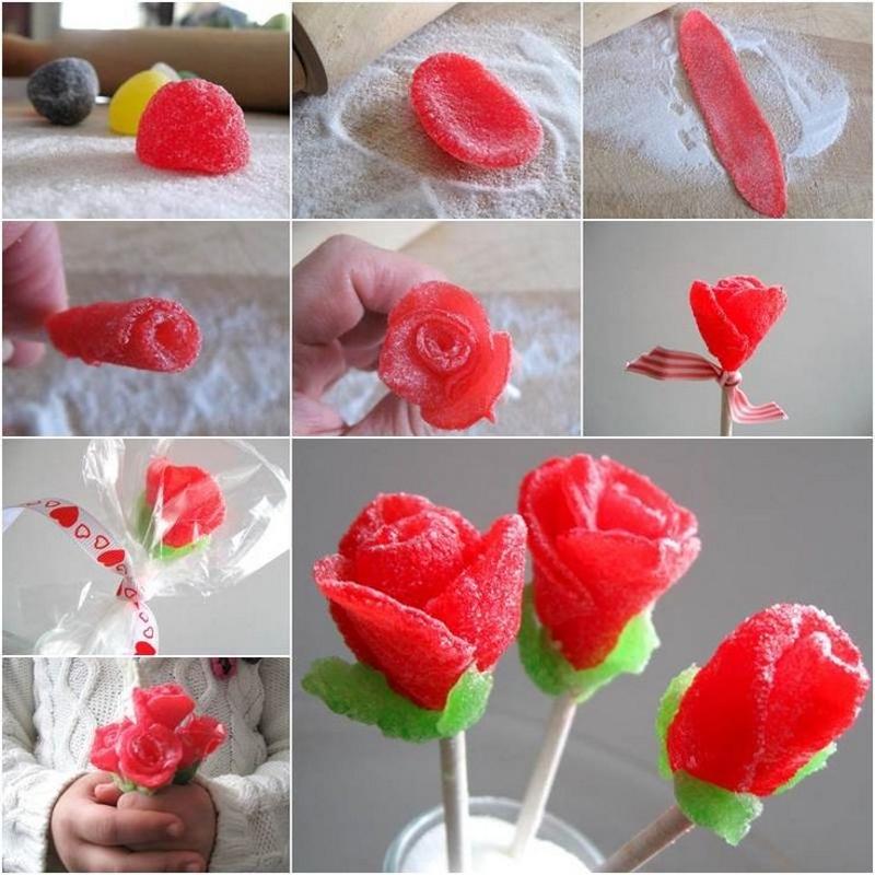 Как сделать розы из мармелада своими руками на 8 марта