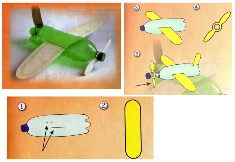 Поэтапное изготовление самолетика из пластиковой бутылки