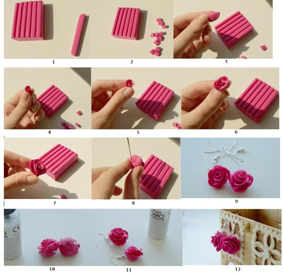 Как сделать сережки-роза из полимерной глины своими руками