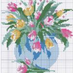 Фото 119: Скачать схему вышивки букет с тюльпанами на 8 марта