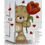 Фото 123: Схема вышивки мишка с тюльпаном на 8марта