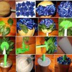Фото 100: Сделать топиарий с цветами из лент своим руками