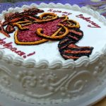 Фото 51: Белковый торт с надписью на 23 февраля