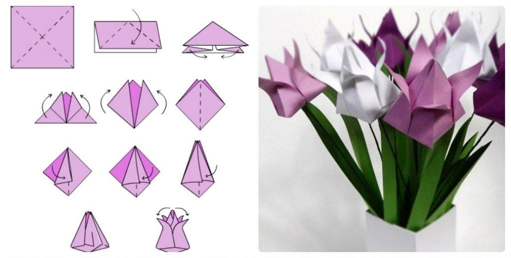Сделать тюльпаны в технике оригами