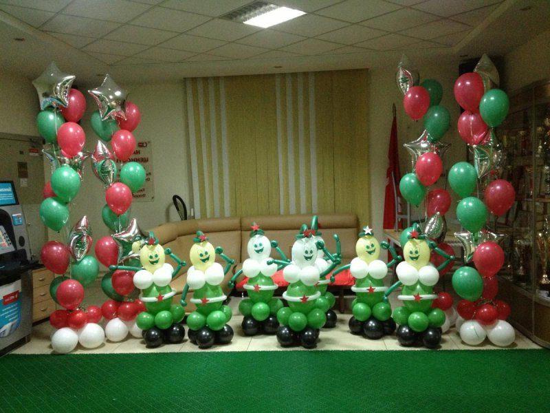 Украшение зала ко Дню Защитника Отечества воздушными шарами