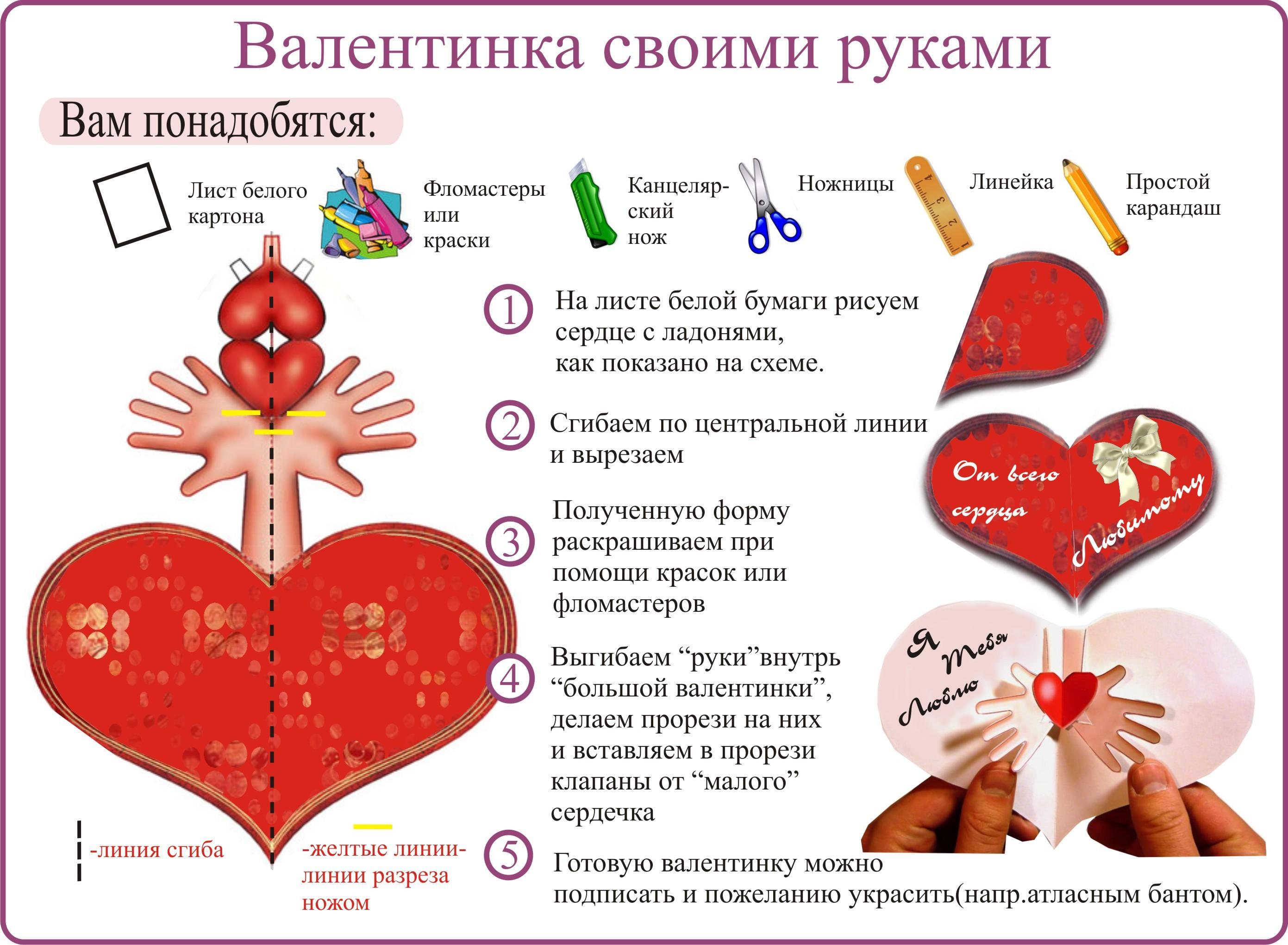 Валентинка на 14 февраля своими руками