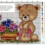 Фото 125: Схема вышивки с медвежонком в подарок на 8 марта