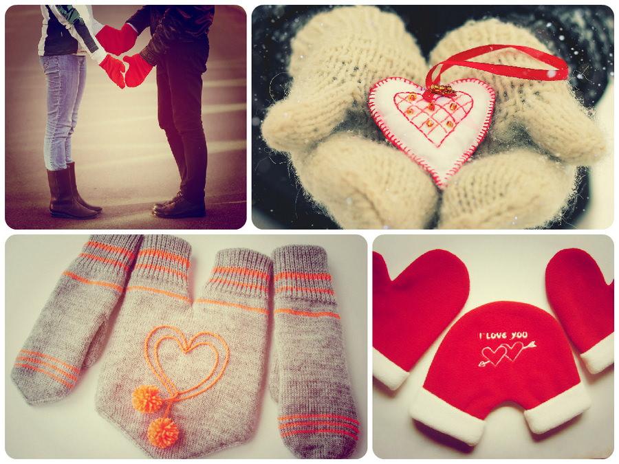 Парные рукавички на 14 февраля
